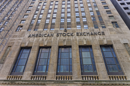 headquarter: New York, USA - May 5, 2015: Fragment of American Stock Exchange Building in Lower Manhattan, New York City, USA. It is the headquarter of Stock Exchange of America