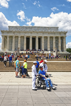 nonprofit: Washington DC, USA - May 2, 2015: War Veterans and guardians of Honor Flight non-profit organization near Lincoln Memorial, west end of National Mall.