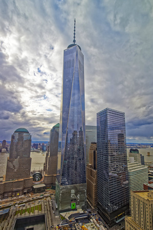 wtc: NEW YORK, USA - APRIL 24, 2015: Aerial view of National September 11 Memorial - 911 -  and Freedom Tower in Financial District in Lower Manhattan. Editorial
