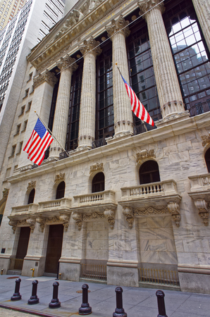 nyse: NEW YORK, USA - APRIL 24, 2015: New York Stock Exchange in Wall Street, Lower Manhattan, USA. It is called NYSE in short.