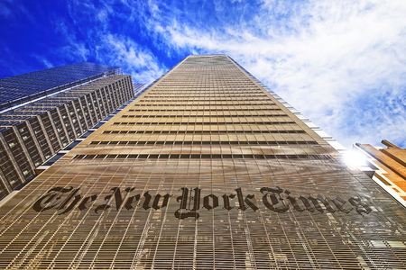 NEW YORK, USA - APRIL 25, 2015: The New York Times daily newspaper building in Midtown Manhattan in New York, USA. It is placed on 8th avenue.