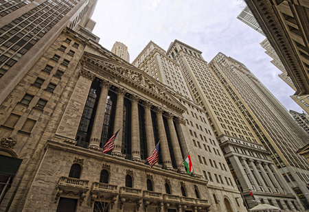 nyse: NEW YORK, USA - APRIL 24, 2015: New York Stock Exchange on Wall Street, Lower Manhattan, USA. It is called NYSE in short.