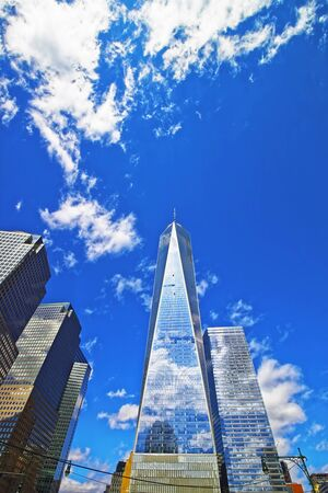 manhattan mirror new york: Financial District and Freedom Tower in Lower Manhattan, New York, USA Stock Photo