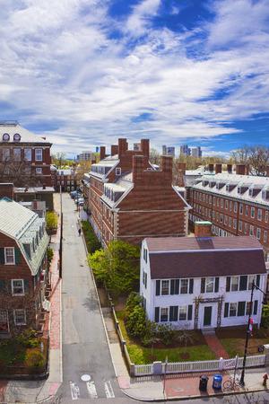 harvard university: Aerial view on John F Kennedy Street in Harvard University Area in Cambridge, Massachusetts, USA.