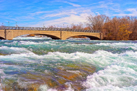 niagara river: Bridge over Niagara and Thresholds in Niagara River from the American part near Niagara Falls. Niagara Falls are the waterfalls between the United States of America and Canada. Stock Photo