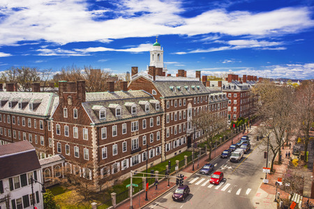 harvard university: Aerial view on John Kennedy Street in the Harvard University Area in Cambridge, Massachusetts, the USA. Eliot House white belltower seen on the background. Tourists in the street Editorial