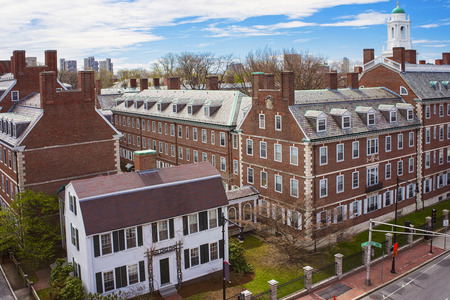 Kennedy: Aerial view on John F Kennedy Street in the Harvard University Area in Cambridge, Massachusetts, the USA. Eliot House white belltower seen on the background. Stock Photo