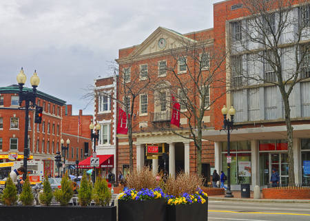 harvard: Cambridge, USA - April 29, 2015: Harvard Cooperative Society, The Coop, in Cambridge, Massachusetts, MA, USA. It is a store established by Harvard students. It is selling books, clothing and gifts.