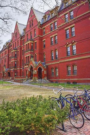 harvard university: Cambridge, USA - April 29, 2015: Bicycles and Harvard Computer Society in Harvard Yard of Harvard University in Cambridge, Massachusetts, MA, USA.