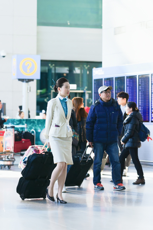 incheon: Incheon, South Korea - February 15, 2016: Asian Korean female flight attendant in Incheon International airport. It is one of the largest and busiest world airports.