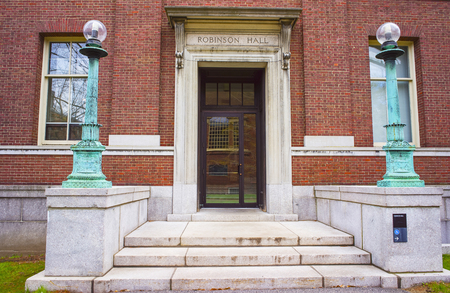 harvard: Cambridge, USA - April 29, 2015: Robinson Hall in Harvard Yard of Harvard University in Cambridge, Massachusetts, MA, USA. It is used as a classroom and departmental building. Editorial