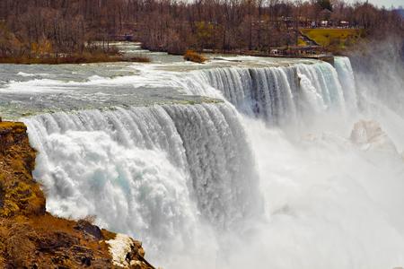 american falls: Niagara Falls viewed from an American side. A view from Niagara State Park on American Falls and Bridal Veil Falls.