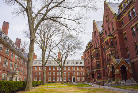 Cambridge, USA - April 29, 2015: Dormitories and Harvard Computer Society Building in Harvard Yard of Harvard University in Cambridge, Massachusetts, MA, USA.