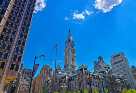 Philadelphia City Hall with William Penn statue atop the Tower. View from the road. Pennsylvania, USA.