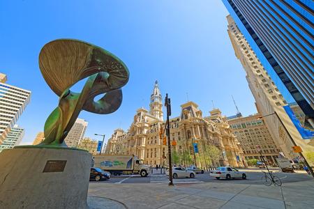 Philadelphia, USA - May 4, 2015: Truine sculpture near Philadelphia City Hall. Philadelphia City Hall background. Pennsylvania, USA. Editorial