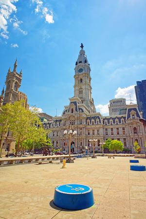 Philadelphia, USA - May 4, 2015: Square near Philadelphia City Hall. Philadelphia City Hall and Church on the background. Pennsylvania, USA.