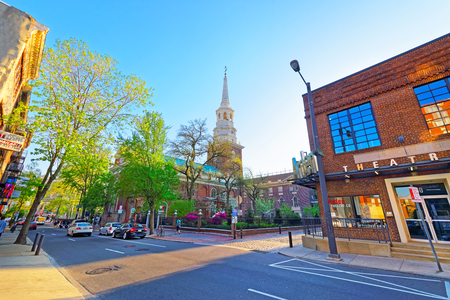 Philadelphia, USA- May 4, 2015: Street view on Independence Hall, Pennsylvania. It is the place where the US Constitution and the US Declaration of Independence were adopted. Tourist in the street