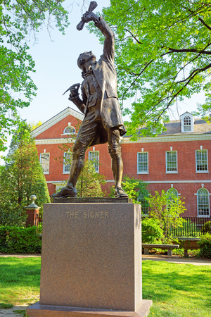 signer: Philadelphia, USA - May 4, 2015: The Signer Statue in Signers Park in the Old City of Philadelphia, in Pennsylvania, USA.