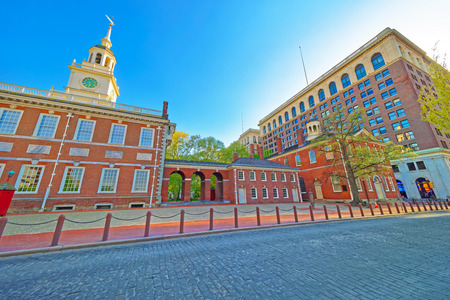Independence Hall and Congress Hall of Philadelphia, Pennsylvania, USA. It is the place where the US Constitution and the US Declaration of Independence were adopted.