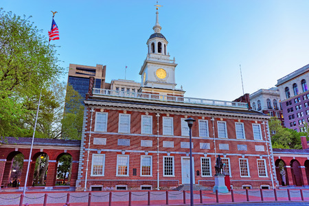 Independence Hall in Chestnut Street of Philadelphia, Pennsylvania, USA in the evening. It is the place where the US Constitution and the US Declaration of Independence were adopted.