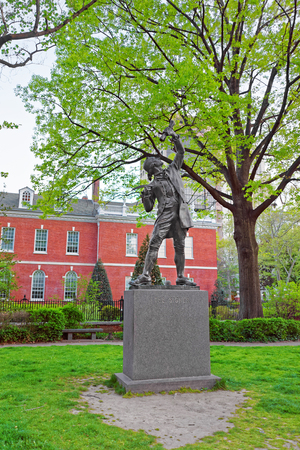 signer: Philadelphia, USA - May 4, 2015: The Signer Statue in Signers Park in the Old City in Philadelphia, Pennsylvania, the USA. Editorial