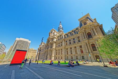 municipal court: Philadelphia, USA - May 4, 2015: Philadelphia City Hall with many tourists on the Penn Square. Pennsylvania, USA.