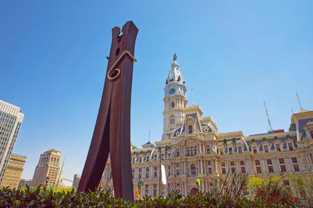 municipal court: Philadelphia, USA - May 4, 2015: Clothespin sculpture near Philadelphia City Hall. Philadelphia City Hall background. Pennsylvania, USA.
