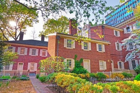 Pemberton House and Military Museum at New Hall at Chestnut Street in Philadelphia, Pennsylvania, the USA. They are located in the Old City near Carpenters Hall.