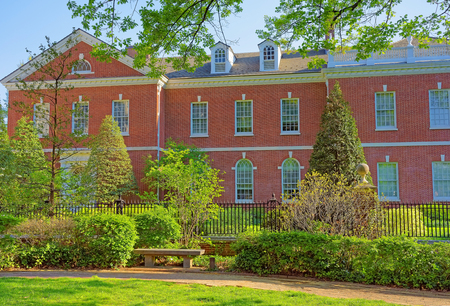 signer: Building of American Philosophical Society in Chestnut Street in the Old City of Philadelphia, Pennsylvania, USA. It is located near Signers Garden not far from Independence Hall. Editorial