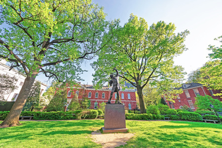 signer: Philadelphia, USA - May 4, 2015: The Signer Statue in Signers Park in the Old City of Philadelphia, Pennsylvania, USA. Editorial