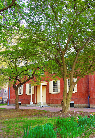 quaker: Arch Street Friends Meeting House in Philadelphia, Pennsylvania, USA. It is a quakers religious society of Friends. Stock Photo