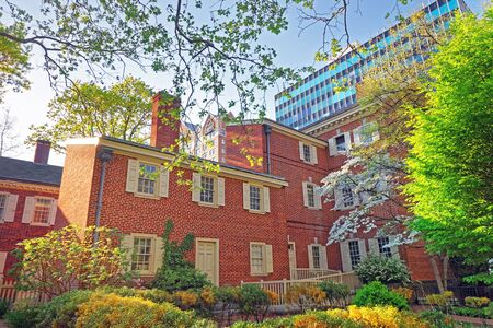 Pemberton House and Military Museum at New Hall in Chestnut Street in Philadelphia, Pennsylvania, the USA. They are located in the Old City near Carpenters Hall. Editorial