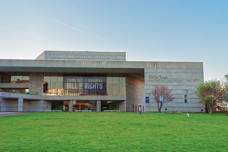 angel cemetery: Philadelphia, USA - May 5, 2015: National Constitution Center in Philadelphia, Pennsylvania, the USA. It is placed on the Independence Mall. Editorial