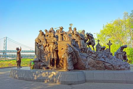 famine: Philadelphia, USA - May 4, 2015: Memorial to Irish famine at Penns Landing in Philadelphia, Pennsylvania, the USA. Editorial