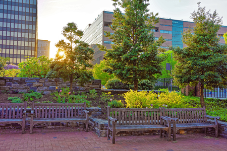 historical building: Romantic sunset in the park in Philadelphia, Pennsylvania, USA. Benches and trees in the park