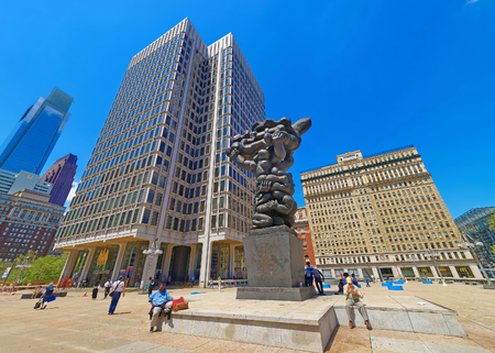 government services: Philadelphia, USA - May 4, 2015: Government of the people sculpture and Municipal Services Building in Philadelphia, Pennsylvania, the USA. Tourists on the square. Editorial