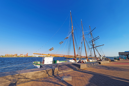civic: Tall ship at the waterfront of Delaware River of Philadelphia, Pennsylvania, the USA. Editorial