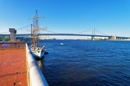Ship at the waterfront of Delaware in Philadelphia, Pennsylvania, the USA. Stock Photo
