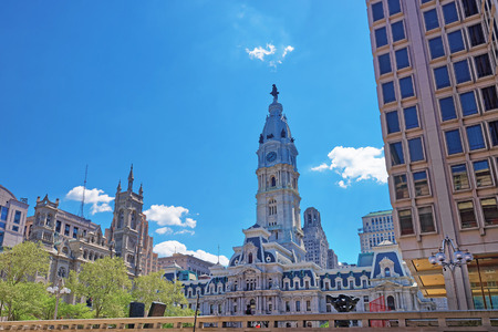 Philadelphia City Hall with William Penn sculpture on Tower. View from the street. Pennsylvania, USA.