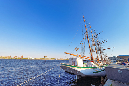 Tall ship at the waterfront of Delaware River in Philadelphia, Pennsylvania, the USA.
