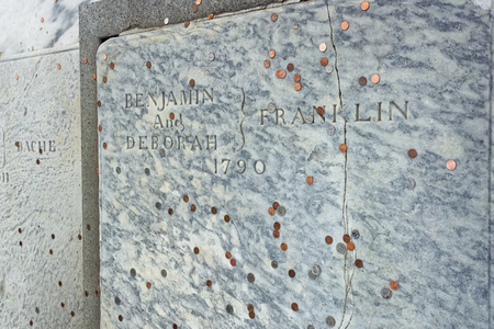 the franklin: Philadelphia, USA - May 5, 2015: Benjamin Franklin Grave at Christ Church Burial Ground in Philadelphia, the Pennsylvania, USA. It is Benjamin Franklin last resting place.