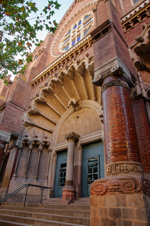 Portal of Church of Hospital de Sant Pau in Barcelona in Spain. In English it is called as Hospital of the Holy Cross and Saint Paul. It used to be a hospital.