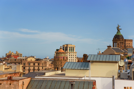 Barcelona, Spain - August 14, 2011: Panorama in Eixample district of Barcelona, Spain. View on Tempietto of Casa Lleo Morera in the block of Discord. It was designed by Lluis Domenech i Montaner