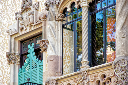discord: Window of Casa Amatller in Modernisme style in the block of Discord in the Eixample district in Barcelona, Spain. It was designed by Josep Puig i Cadafalch Editorial