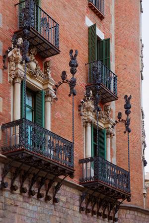 josep: Balconies of Casa Terrades in Modernisme style in Avinguda Diagonal of Barcelona, Spain. It was designed by Josep Puig i Cadafalch