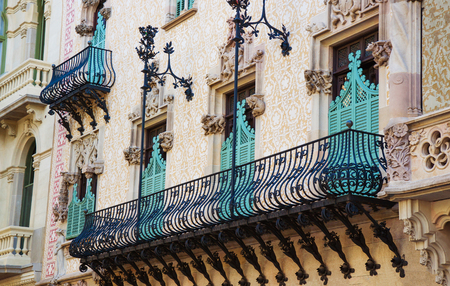 discord: Barcelona, Spain - August 14, 2011: Balcony of Casa Amatller in Modernisme style in the block of Discord in the Eixample district of Barcelona, Spain. It was designed by Josep Puig i Cadafalch Editorial