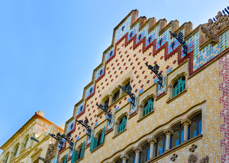 discord: Barcelona, Spain - August 14, 2011: Casa Amatller in Modernisme style in the block of Discord in the Eixample district of Barcelona, Spain. It was designed by Josep Puig i Cadafalch