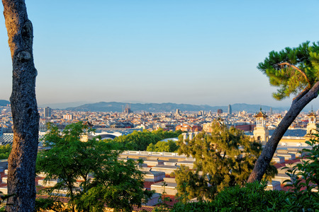 spanish village: Skyline of City Center in Spanish Village on the Montjuic in Barcelona, Spain. It is an architectural museum and is also called Poble Espanyol, or Spanish town. Stock Photo