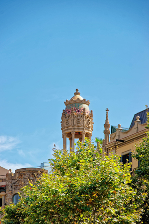 Tempietto of Casa Lleo Morera in Modernisme style in the block of Discord in the Eixample district of Barcelona, Spain. It was designed by Lluis Domenech i Montaner Stock Photo