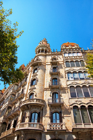 Barcelona, Spain - August 14, 2011: Casa Rocamora in Modernisme style in the block of Discord in Eixample district of Barcelona, Spain. It was designed by brothers Bonaventura and Joaquim Bassegoda